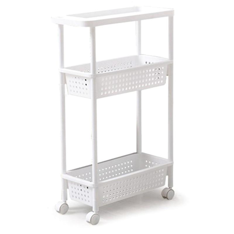 Space Kitchen Storage Rack Shelf Slim Slide Tower Movable Assemble Thickened Plastic Bathroom Shelf Wheels Space Saving Organize|Storage Shelves & Racks| |  -
