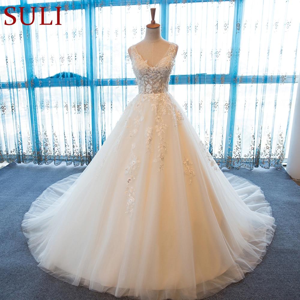 SL-55 V-Neck Beach Wedding Gowns Plus Size Boho Cheap Wedding Dress Lace(China)