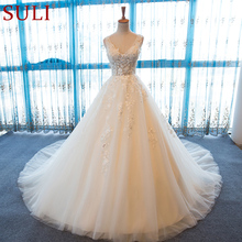 SL 55 V Neck Beach Wedding Gowns Plus Size Boho Cheap Wedding Dress Lace