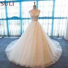 SL 55 dekolt w serek suknie ślubne Plus rozmiar Boho tanie suknie ślubne koronki