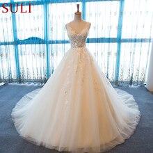 SL 55 الخامس الرقبة شاطئ فساتين الزفاف حجم كبير بوهو رخيصة فستان الزفاف الدانتيل