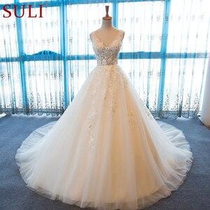 Image 1 - SL 55 الخامس الرقبة شاطئ فساتين الزفاف حجم كبير بوهو رخيصة فستان الزفاف الدانتيل