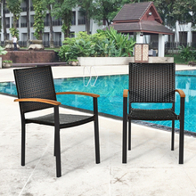 Set of 2 Outdoor Patio Mix-brown PE Rattan Dining Chairs Rust-proof Galvanized Steel Fram Ventilation Garden Patio Chairs cheap CN(Origin) Solid 23 5 x 22 x 34 5 (L x W x H) OP70689 Garden Chair Minimalist Modern Rattan Wicker Outdoor Furniture China