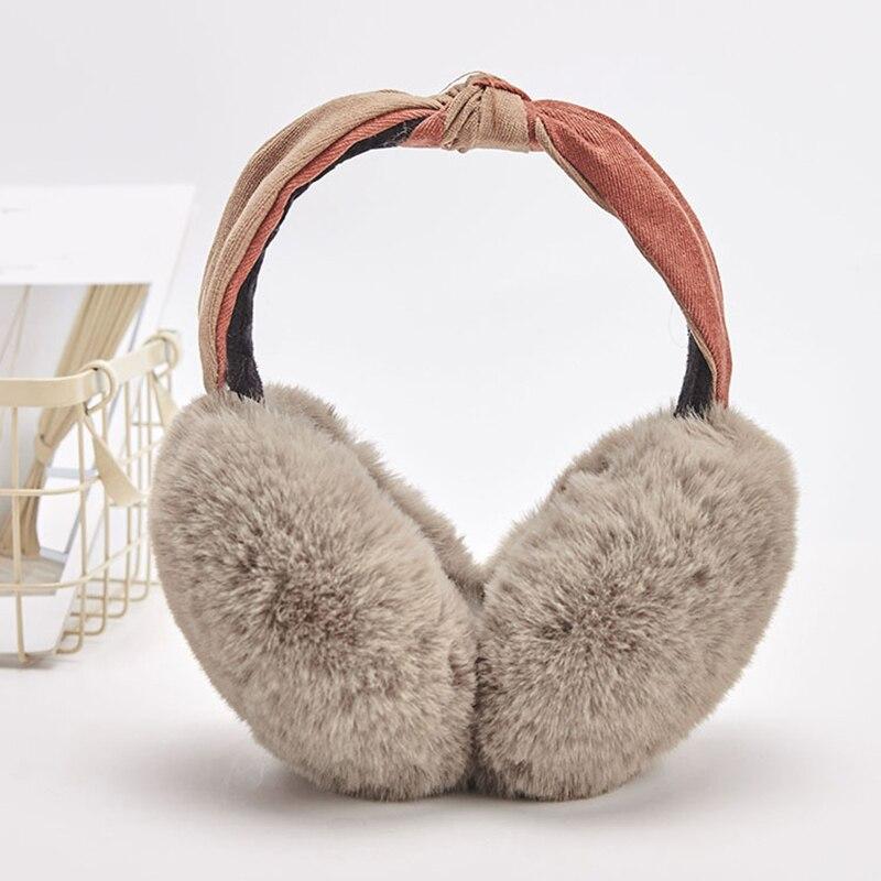 2019 Two-Color Women Foldable Winter Earmuffs Faux Fur Hamburger Ear Warmer Plush Headgear Fur Headphones Ear Muffs