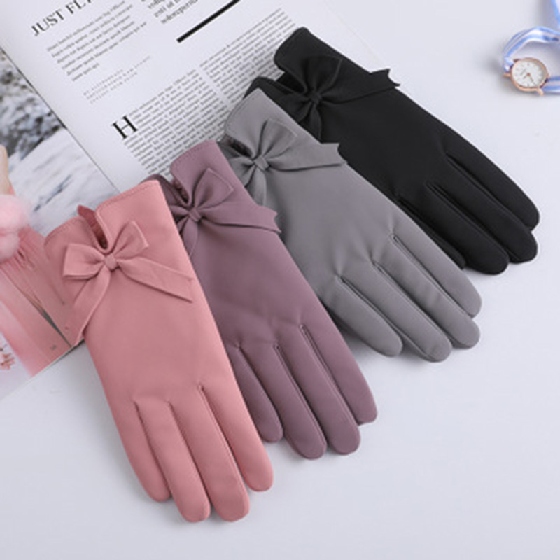 Winter Women Bow Full Finger Gloves Female Winter Touch Screen Warm Gloves Windproof Suede Thickening Cycling Driving Mitts E74