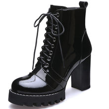 MORAZORA 2019 high quality genuine leather boots women lace up autumn winter ankle boots for women platform high heels boots(China)