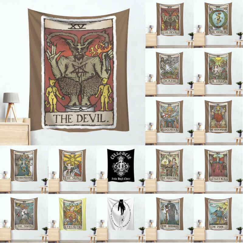 Devil Baphomet Tarot Card Tapestry Gothic Mandala Home Decor Heks Muur Opknoping Hot Selling
