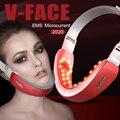 Аппарат для подтяжки подбородка с V-образной линией, вибрирующий массажер для лифтинга лица, фотонная терапия, красно-светодиодный ОД, уход ...
