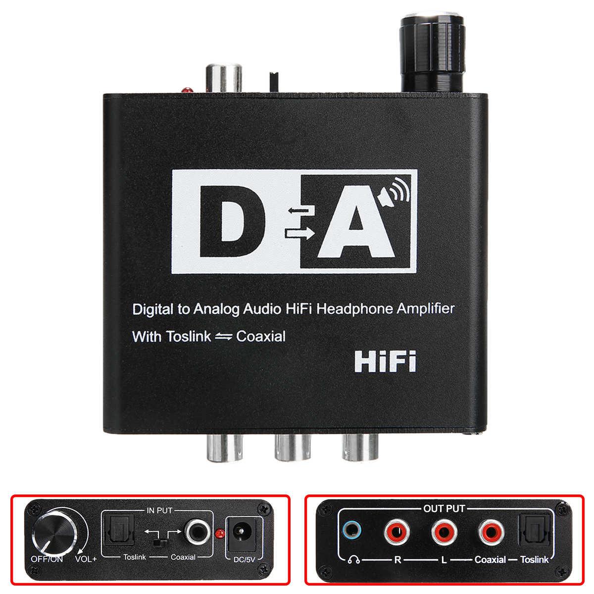 最新のデジタルアナログ信号コンバータ黒同軸デジタルアナログ信号変換器 Supprot Toslink 入力同軸出力