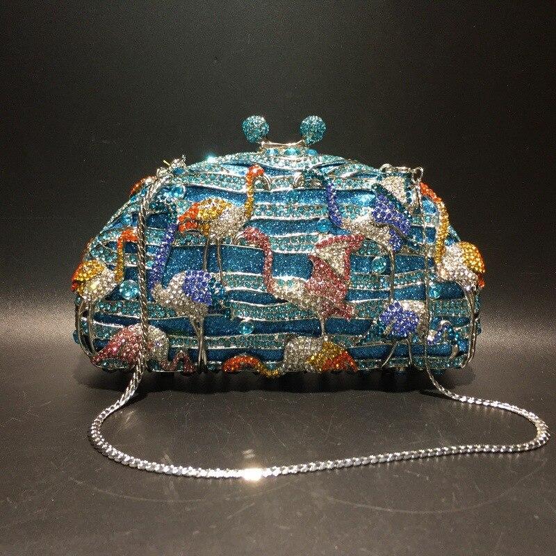 2021 new women bag flamingo diamond bag corrugated metal crystal evening bag handmade diamond ladies bag diamond sparkle bag