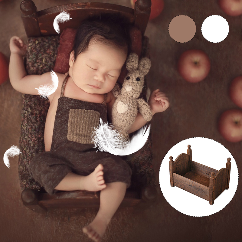 Wooden Bed For Newborn Photography Props Baby Cribs Small Bed Basket Sofa Crib Photo Studio Photography Boy Girl Baby Photo Gift