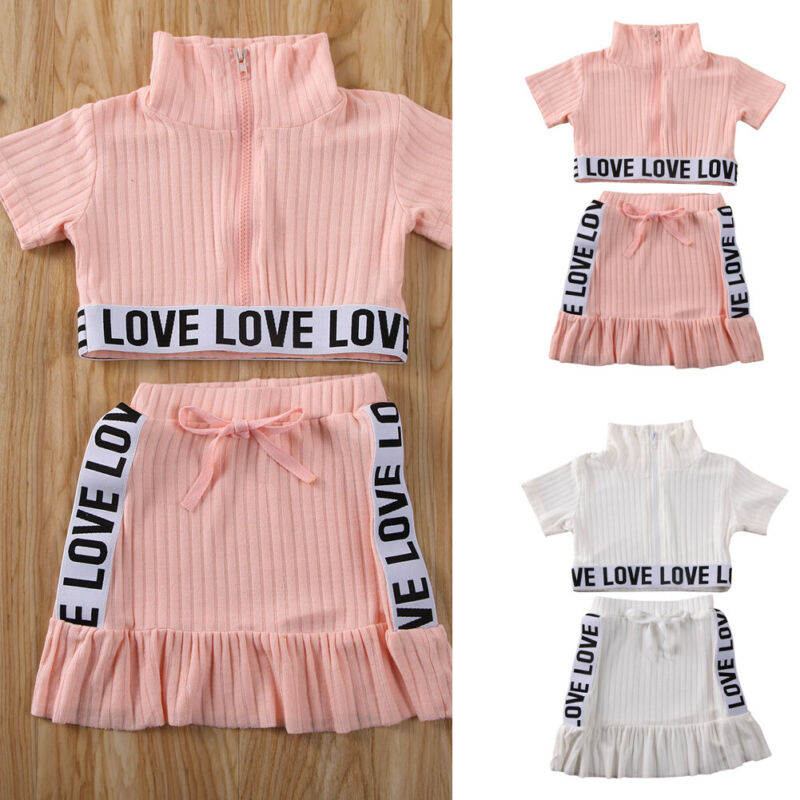 1-5Y Toddler Kids Baby Girls Clothes Sets Letter Short Sleeve Zipper T-shirt Tops & Ruffle Skirts Outfits Clothes