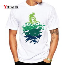 Fashion T-Shirt Mens Womens 3D Print Bicycle Mountain Tree Graphic Tees Casual Unisex White Short Sleeve Tops