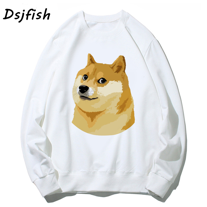 Men Hoodies Sweatshirts Doge Deus God Dog Shiba Inu White Long Sleeve O Neck Top Women Fashion Cartoon Hoody For Girl Boy