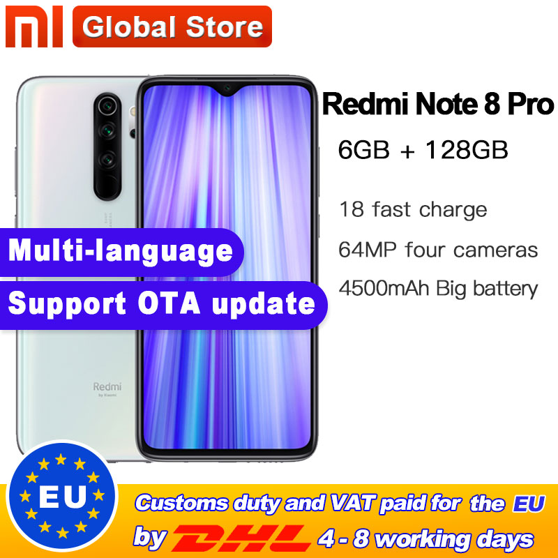 Global ROM Original Xiaomi Redmi Note 8 Pro 6GB 128GB MTK Helio G90T Smartphone 4500mAh 64MP Quad Rear Camera  6.35