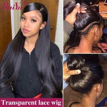 Şeffaf 360 dantel ön peruk bebek saç ile kopardı tutkalsız brezilyalı düz insan saçı peruk 150 yoğunluk RUIYU Remy