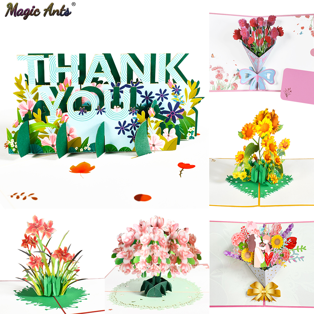 Thank You Card Pop-Up 3D Greeting Cards for Thanksgiving Mothers Fathers Day Gratuation Anniversary Valentines