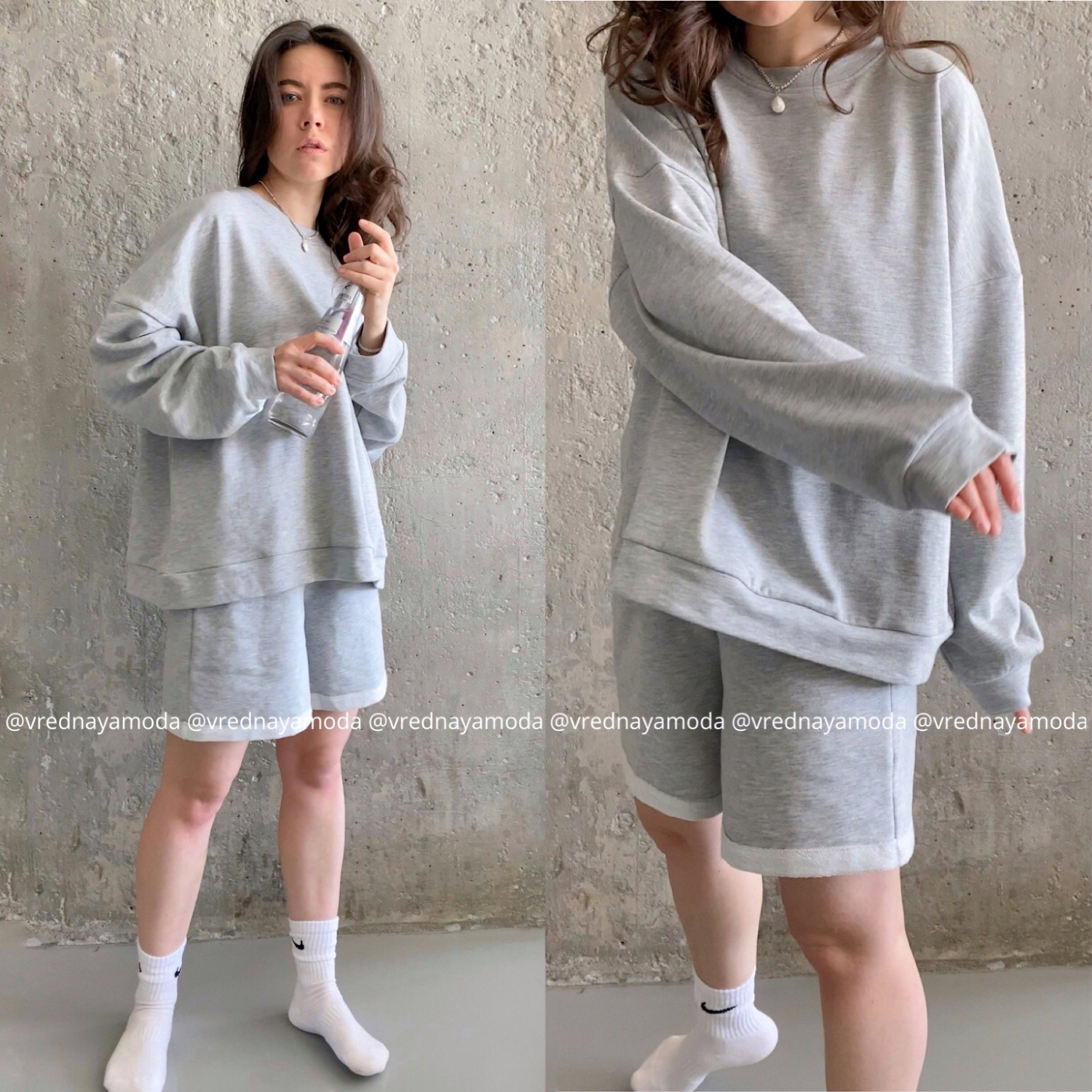 Womens Tracksuits 2 Piece Set Summmer Autumn Oversize Sweatshirt + Sporting Shorts Sweat Set Two Piece Outfit Solid Color Sets 5