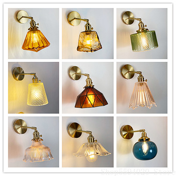 Nordic Colored Crystal Brass Wall Lamp Japanese Bedroom Bedside Lamp Mirror Creative Glass Living Room Wall Sconces Lighting