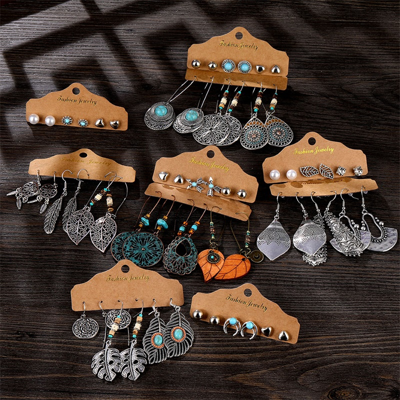 VKME New Ethnic Beads Drop Earrings Set For Women 6Pcs/Set Fearther Acrylic Metal Wood Dangle Earring 2020 Vintage Jewelry