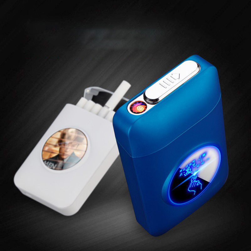 Metal Cigarette Case Box With USB Electronic Lighter Tobacco Storage Case Cigarette Holder Electric Plasma Arc Lighter Gadgets
