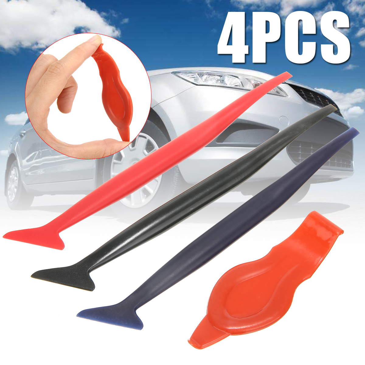 Mayitr 4pcs Micro Squeegee Set Vinyl Car Film Sticker Tint Wrap Tuck Tool Kit for Installing Vehicle Wraps Auto Sticker