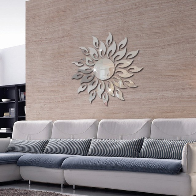 1set 3d Mirror Wall Stickers Sun Flower Flame Decorative Stickers Room Decoration Home Decor Living Room Luxury Style Bedroom 5
