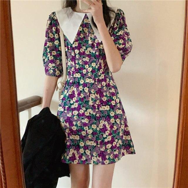HziriP Elegance Hot Sale Plus Short Sleeves Chic Girls Basic Fashion 2020 Vintage Girls Streetwear Feminine Sweet Mini Dresses