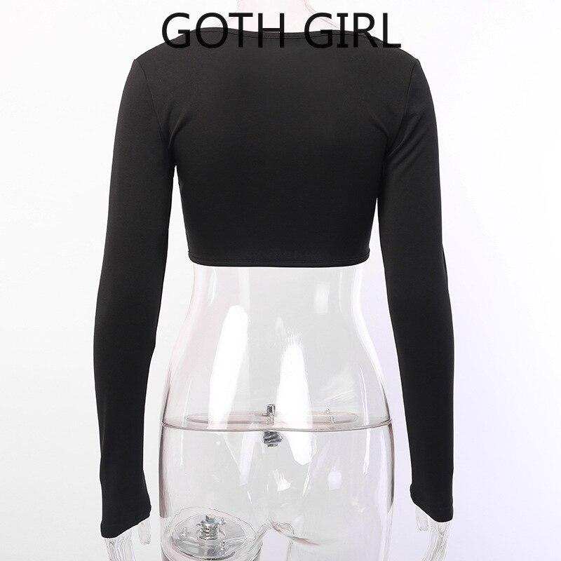 Купить женская футболка с длинным рукавом goth girl dark осенний облегающий