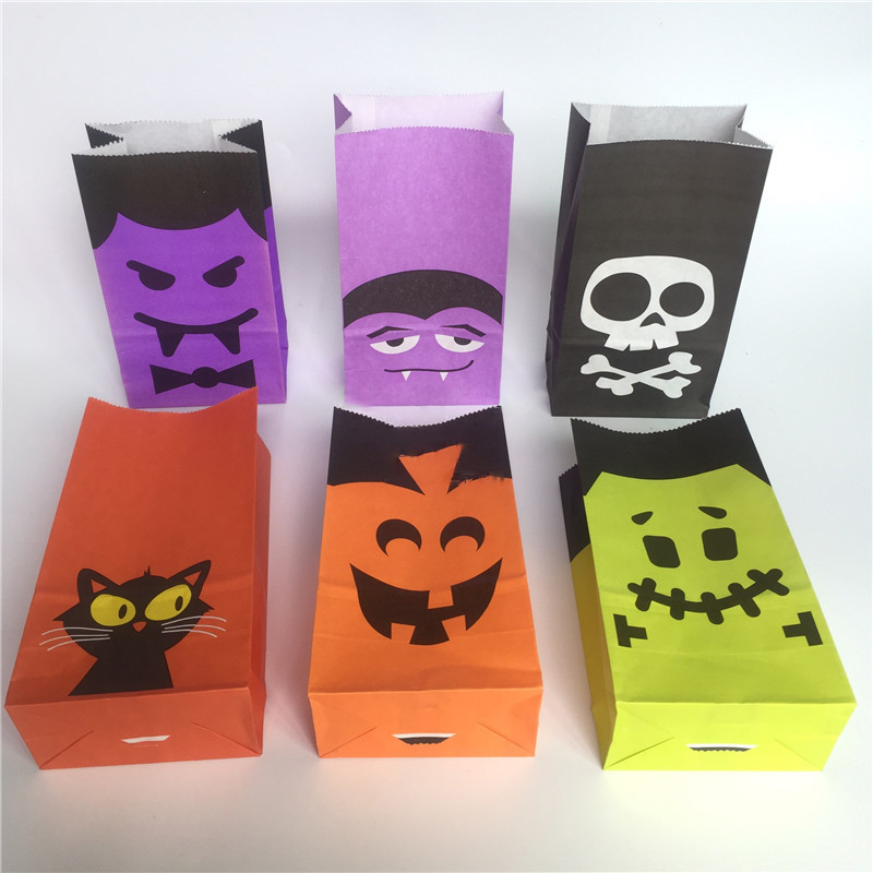 1 Piece Halloween DIY Snack Bag Packaging Supplies Kraft Paper Bag Candy And Candy Bar Bag Children'S Day Holiday Party Supplies