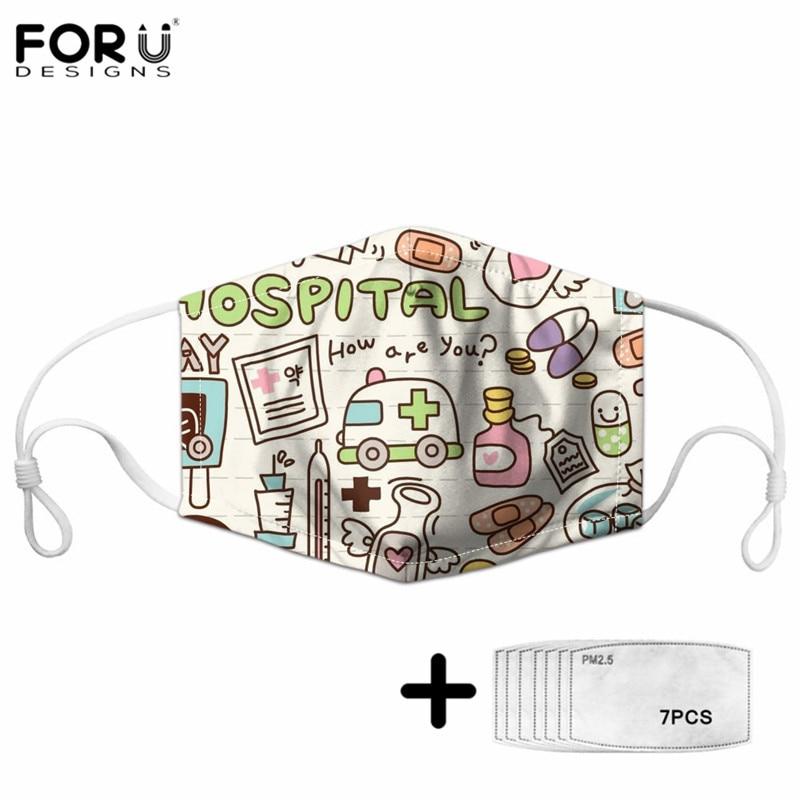 FORUDESINGS Nursing Health Care Pattern Unisex Nurse Design Mom&baby Anti PM2.5 Maske Sets Outdoor Dustproof Half Face Mouth Mak