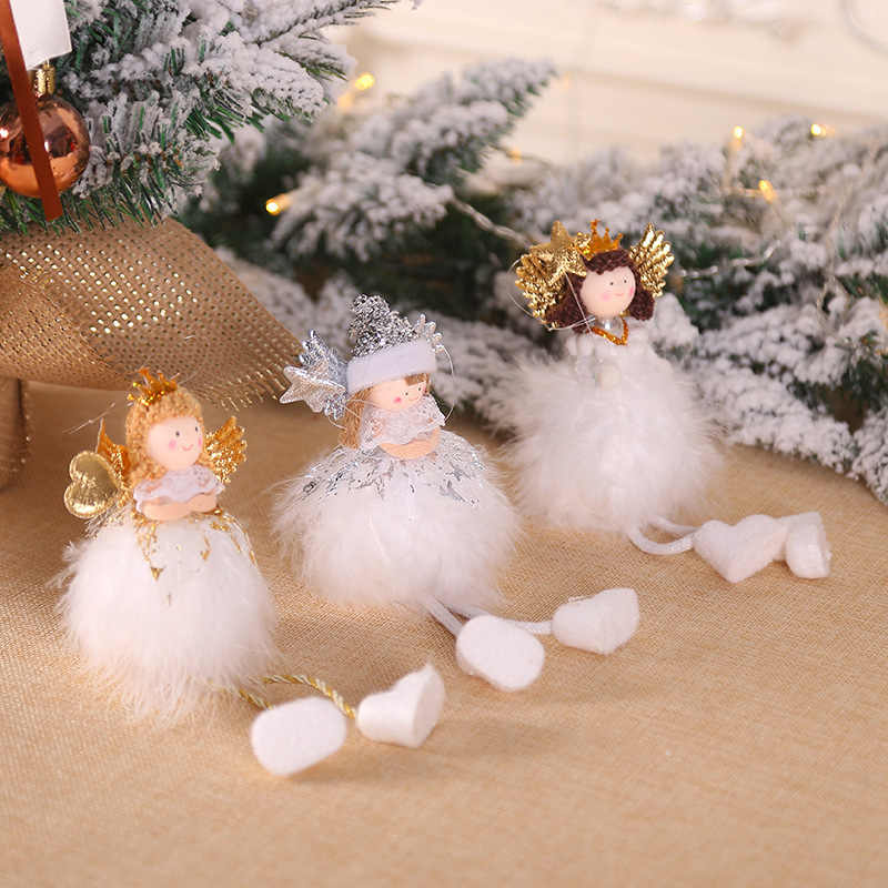 จี้คริสต์มาสน่ารัก Angel ตุ๊กตายืน/นั่ง Figurine Xmas Tree แขวนเครื่องประดับตกแต่งวันหยุดปีใหม่ BW007