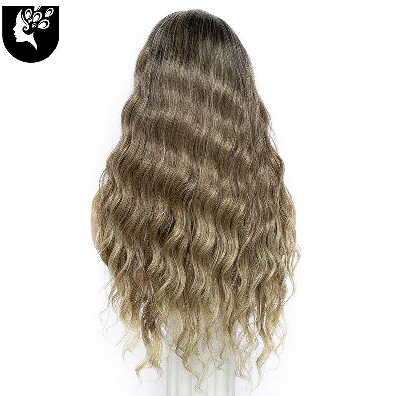 longo peruca dianteira do laço sintético luz