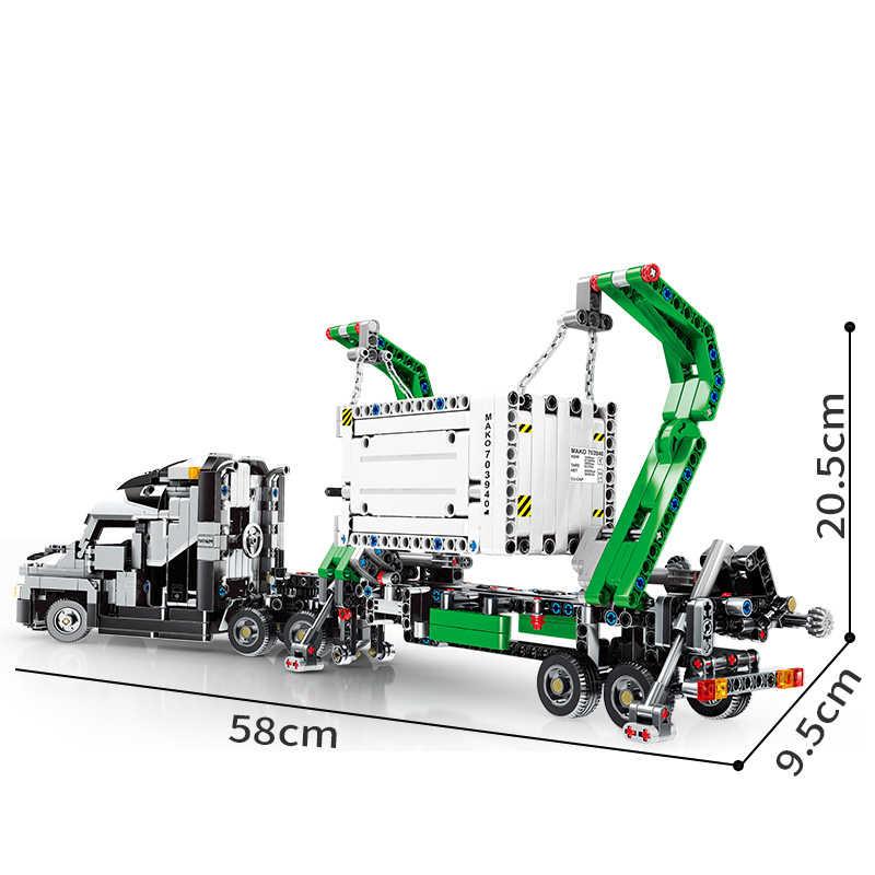 1202 Pcs Compatibel Grote Vrachtwagen Mark Container Voertuigen Auto Bouwstenen Speelgoed Kinderen Geschenken Stad Techniek Blok Speelgoed