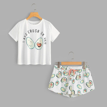 Summer Avocado Cartoon Pajama Set Print Short Sleeve T shirt and Shorts Sleeping Set 2019 Woman Casual Homewear Set bow print wrap pajama set