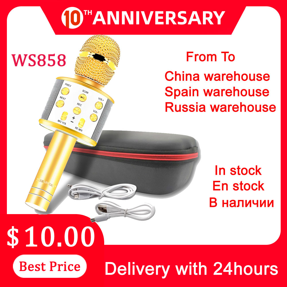 Free Shipping Russia Stock Ws858 Microphone  Микрофон Беспроводной Микрофон Караоке For Music Playing Singing Speaker Player