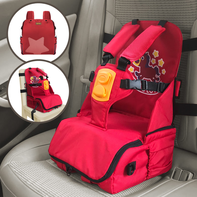 3 In 1 Children Car Safety Seat With Storage Box Travel Booster Seat Diaper Mommy Bag Dining Highchairs Kids Car Seat Belt Clamp