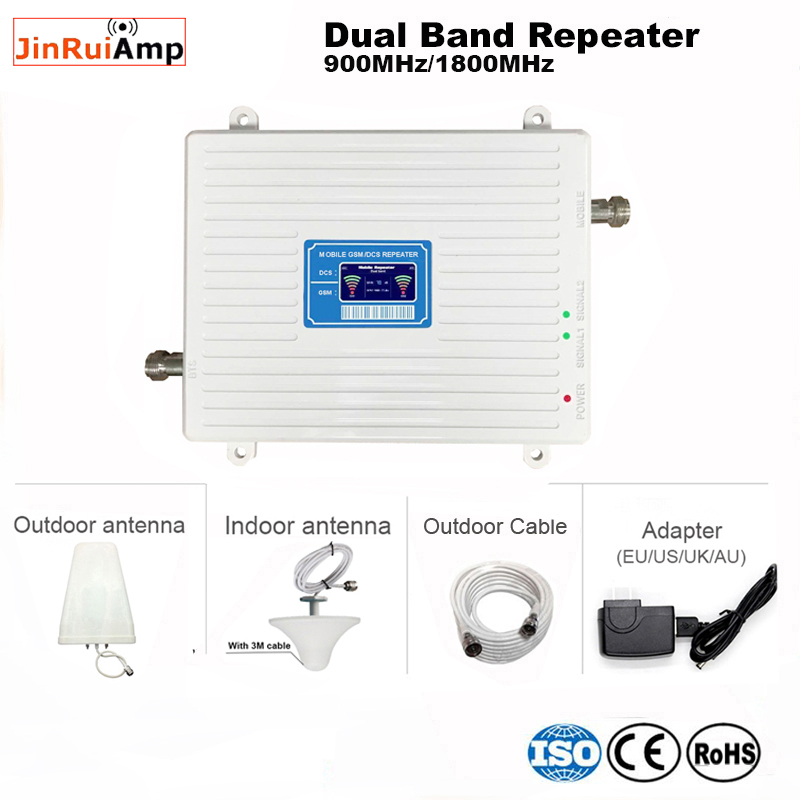 Full Set Russia GSM 900 4G LTE 1800 Repeater GSM 1800mhz Mobile Signal Booster 65dB Dual Band Repetidor Celular Amplifier