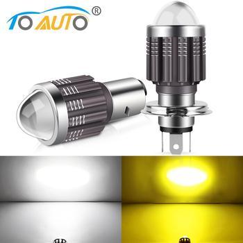 H4 BA20D Led Bulbs Motorcycle Headlight Hi/Lo Beam Dual Color Motorbike 3000K 6000K Scooter ATV Accessories Projector Lens