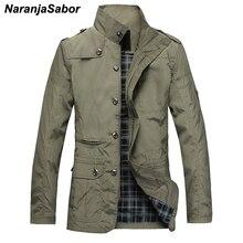 NaranjaSabor موضة رقيقة الرجال السترات رائجة البيع لباس غير رسمي الراحة سترة واقية معطف الخريف الضروري الربيع الرجال معطف N483