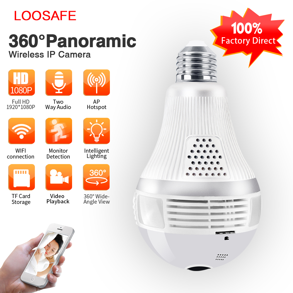Loosafe 2MP 360 Security Wifi Camera Lamp Panoramic Camera Wifi IP Camera Fisheye Panoramic Surveillance Home Security IPCamera