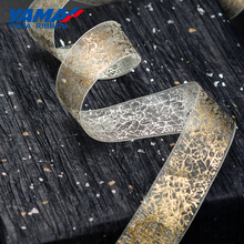 YAMA Polyester Organza Foil Print Gold Ribbon 10yards 25mm 1 inch Solid Color for Crafs DIY Gifts Packing Wedding Decoration