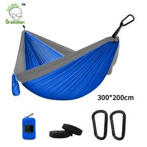 Image 3 - 300*200cm przenośny Camping hamak spadochronowy Survival zewnętrzne meble ogrodowe wypoczynek spanie Hamaca Travel podwójne zawieszenie łóżko