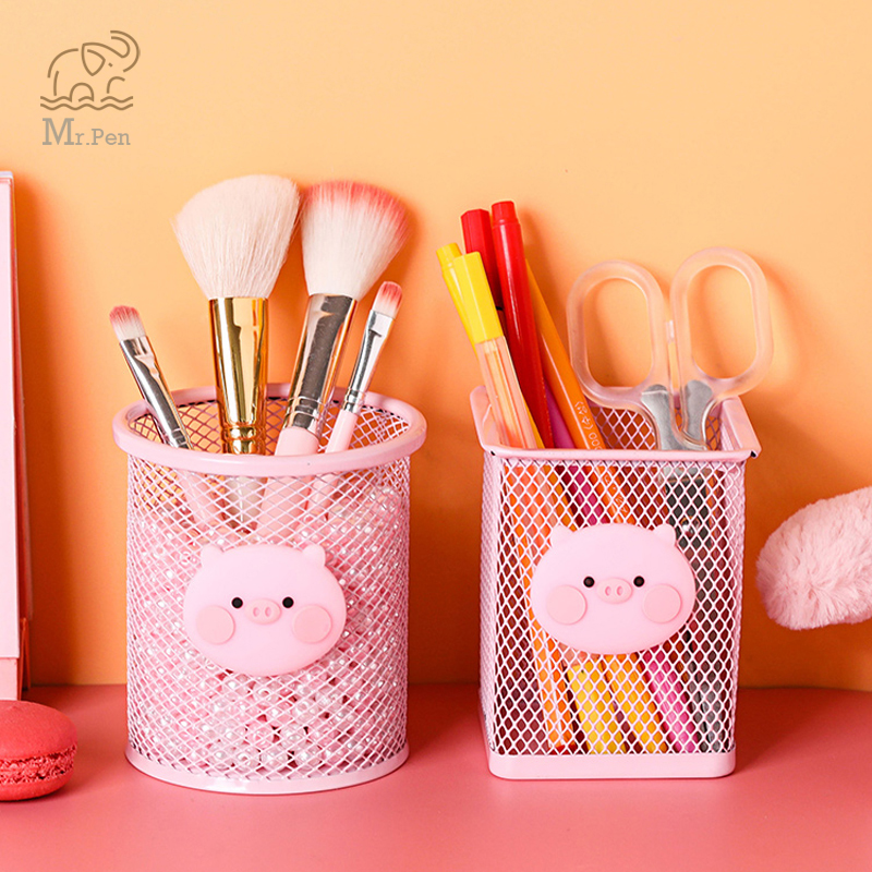 Kawaii Pink Pig Iron Pen Holder Office Organizer Cosmetics Makeup Brushes Tool Cup Holder Case Pencil Container Office Supplies