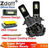 Zdatt H4 ampoule LED H7 6000K H11 9006 LED lampadas a H1 voiture lumières 9005 HB3 9006 HB4 LED Canbus 100W 12000LM 12V Automobiles Lampe