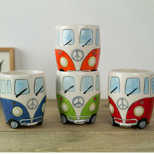 Image 2 - British Hand painted Ceramic Cup Creative Cartoon Bus Cup Personality Retro Car Mug Breakfast Milk Coffee Child Gift Cup
