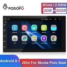 Podofo 2 Din Android 9.1 Car GPS Multimedia Video Player Autoradio For VW Toyota Nissan Polo Golf Ford Hyundai Passat Radio Car