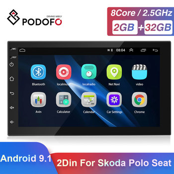 Podofo 2 Din Android 9.1 Car GPS Multimedia Video Player Autoradio For VW Toyota Nissan Polo Golf Ford Hyundai Passat Radio Car image