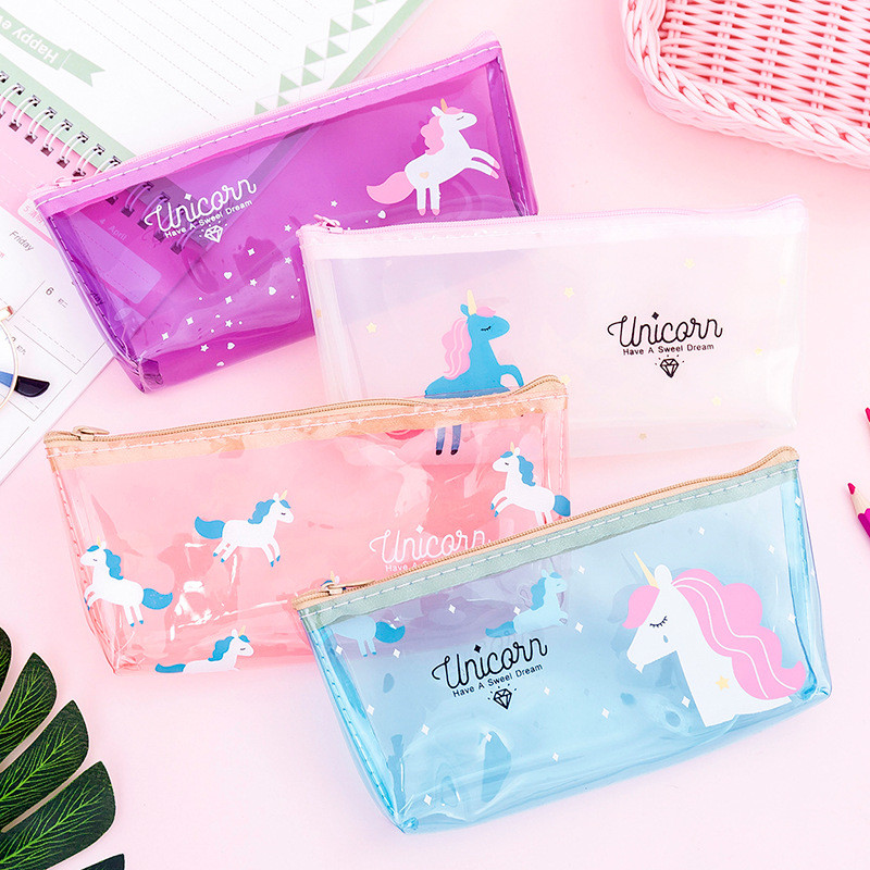 1 Pcs Cartoon Unicorn Pencil Case Thick PVC Transparent Pencil Bag Box For Kids Stationery Storage Case Waterproof Pen Bag