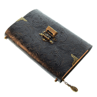 Embossed Pattern Soft Leather Travel Notebook with Lock and Key Diary Notepad Kraft Paper for Business Sketching Writing|Planners| |  -